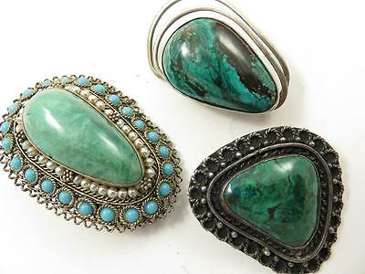 VINTAGE 3 PC LOT OF ISRAEL STERLING AZURITE MALACHITE EILAT PINS BROOCHES