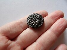 """ART DECO  BLACK WITH PEWTER OVERLAY & SELF SHANK FLOWER BUTTON 7/8"""" 22MM Z14"""