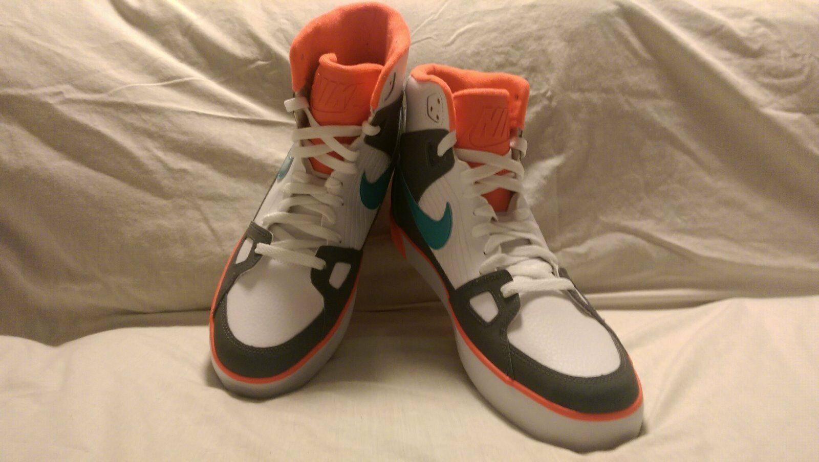 Men's Nike Flight AC Sz 12 OrangeWhite/Turq/Grey Leather Trainers 577128-130