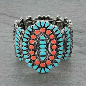 SQUASH-blossom-bracelet-in-silver-orange-and-turquoise-stretch