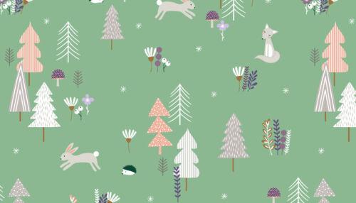 Makower Fabric Forest Talk Forest Talk  Green Per 1//4 Metre