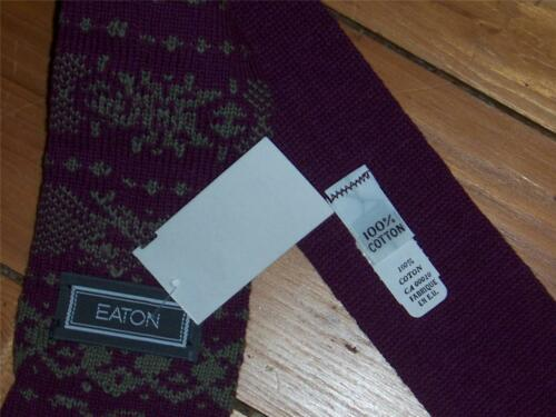 Eaton 100/% Cotton Knit Sock Tie Purple and Gray  Made in USA NEW