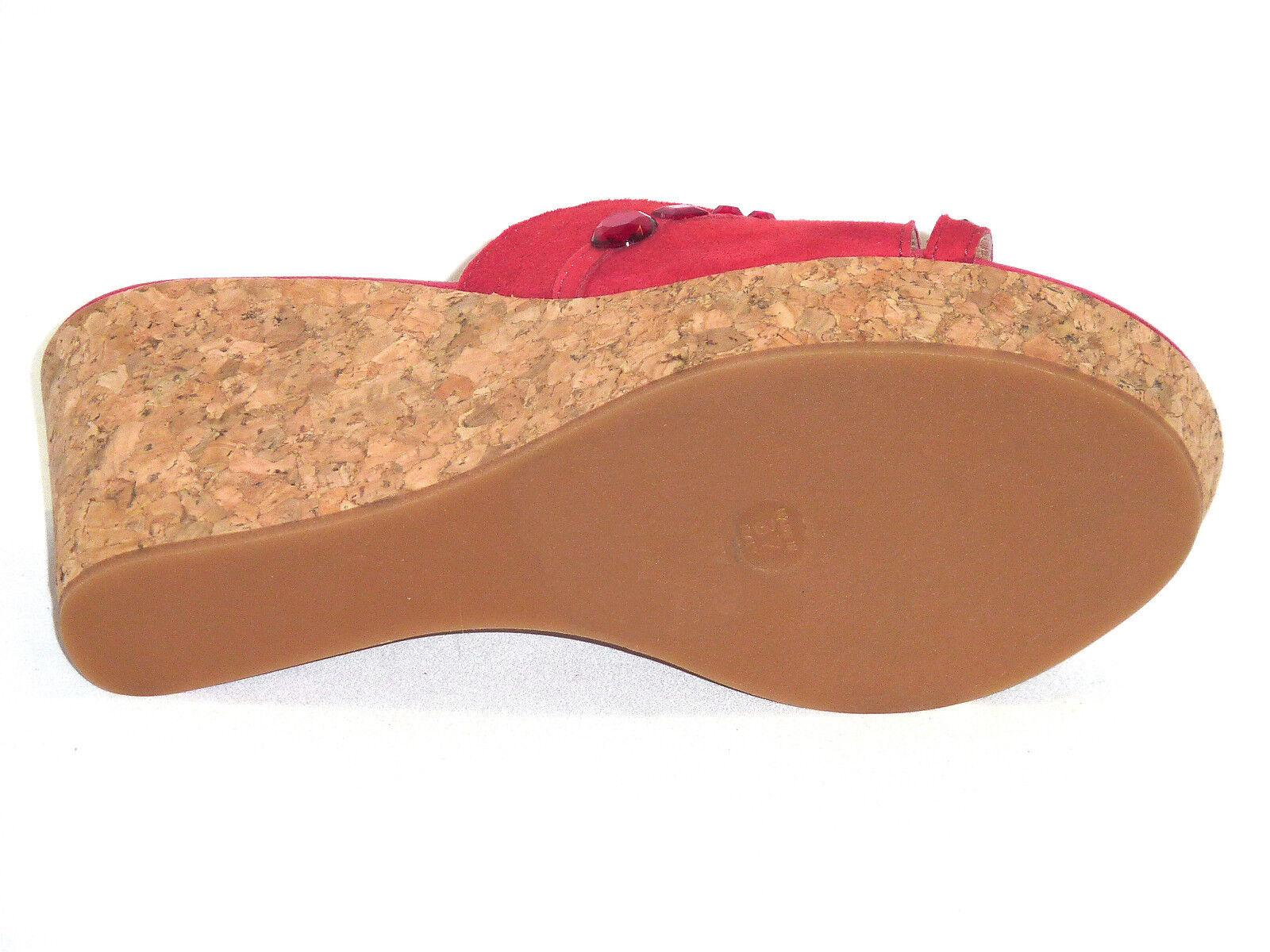 833 ZEPPE SANDALI DONNA FONDO SUGHERO PELLE in NABUK ROSSO Made in PELLE Italy n. 39 787739