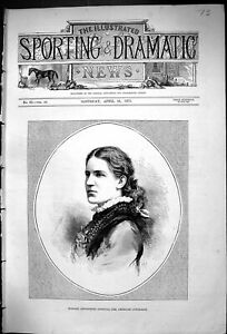 Antique Old Print 1875 Portrait Madame Antoinette Sterling American Contralto