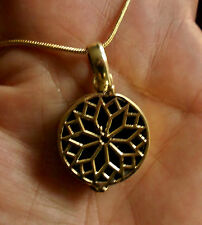 SMALL BRASS PENDANT LOCKET NECKLACE, GEOMETRY PILL BOX, TRINKET, ANTIQUE EFFECT
