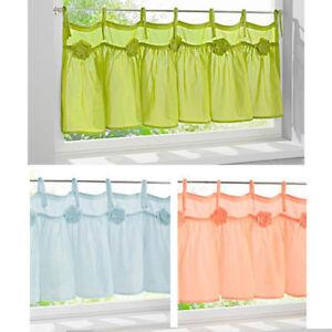 Bistro-Scheibengardine-Panneaux-Bindebaender-45-60-x-120-cm-Gruen-Blau-Apricot