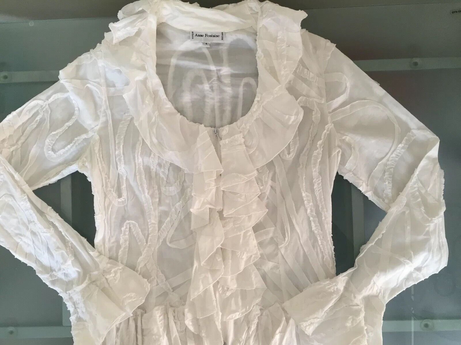 Anne Fontaine White Ruffled Blouse-Sz.4 - image 4