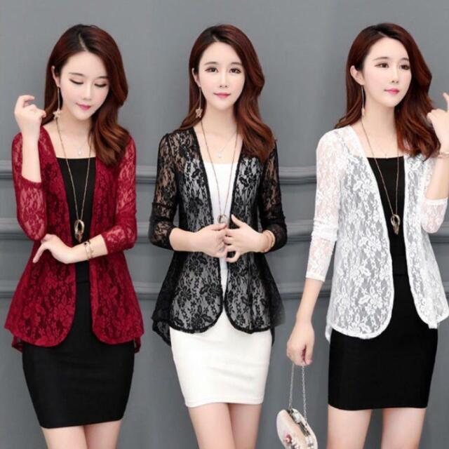 Women Cardigan Sun Shirt Blouse Summer Lace Chiffon Sunproof Long Sleeve Plus Be
