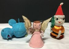 Vintage Paper Mache Angel Christmas Ornament West Germany Mica Bird Japan Santa