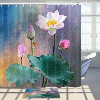 Lotus Flower Leaves Fabric Shower Curtain Bathroom Decor Art