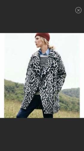 Banana Republic Snow Leopard Cocoon Moto Jacket Co