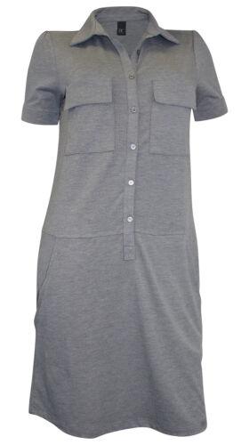 Minikleid BEST CONNECTIONS Gr 38 grau meliert Jersey Polo Kleid Taschen