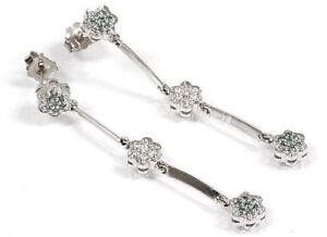 4.5 MM 0.25 ct tw Natural Blue /& White Diamond 14k Gold Flower Stud Earrings