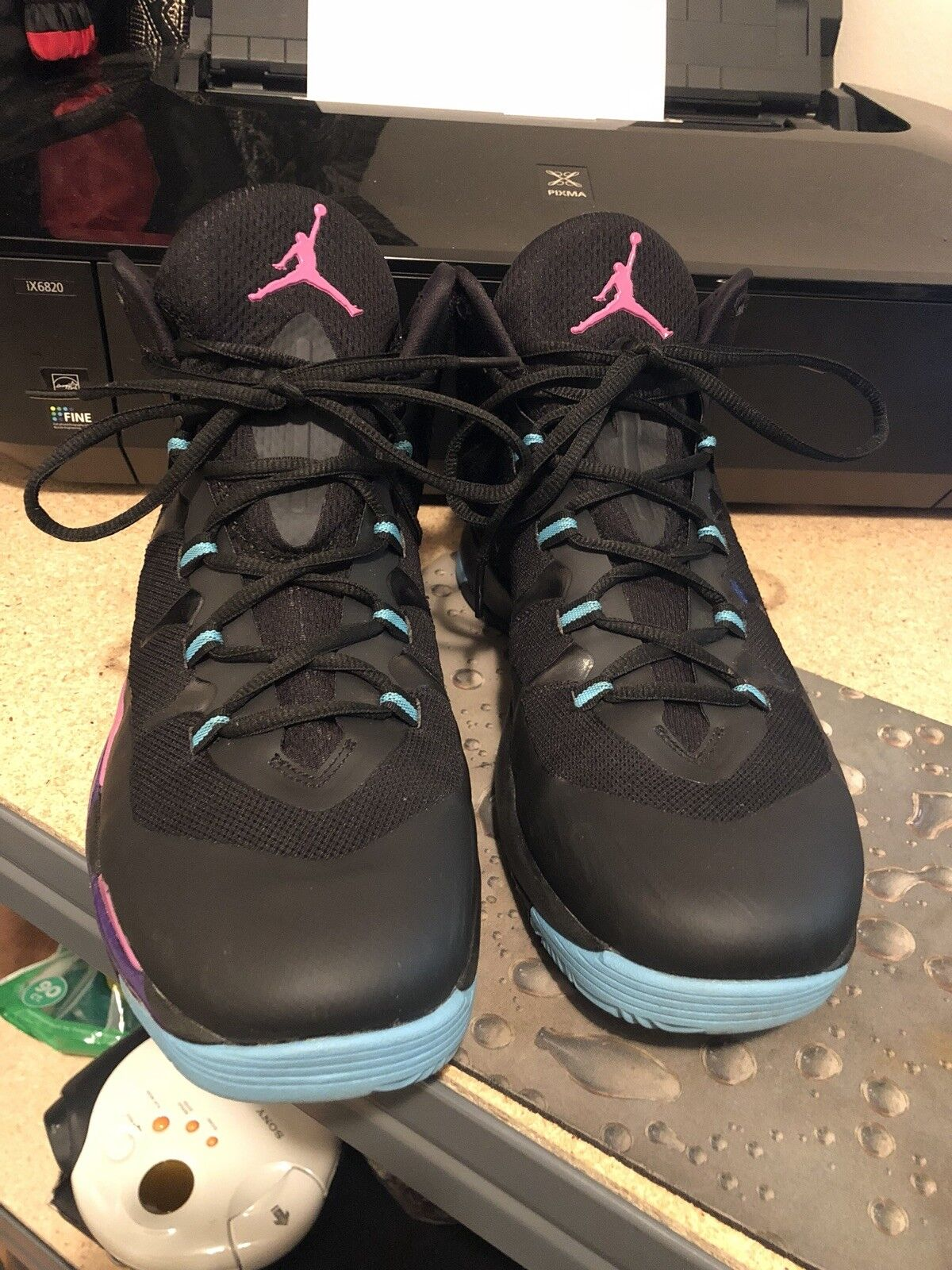 Nike männer ist jordan super. fliegen 2 schuhe schwarz / rosa / lila 599945-009 einst nett!