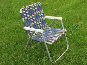Fabulous Details About Aluminum Folding Webbed Lawn Chair Plastic Arms Blue White Machost Co Dining Chair Design Ideas Machostcouk