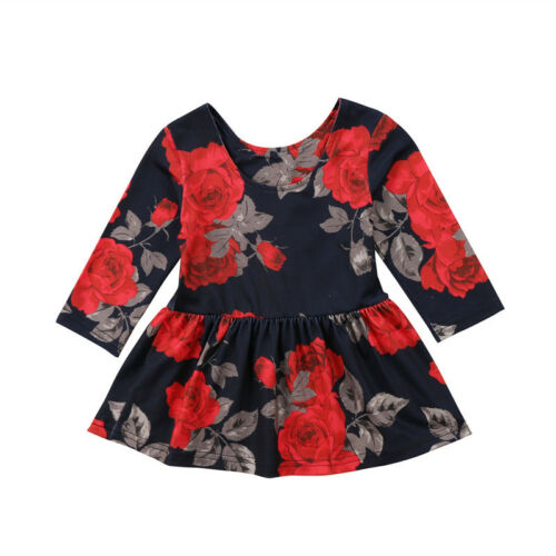 Newborn Infant Baby Girls Floral Long Sleeve Party Pageant Prom Dress Clothes