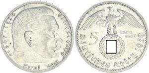 3. Reich 5 Mark Hindenburg 1939 g besseres mzz. vz 55077