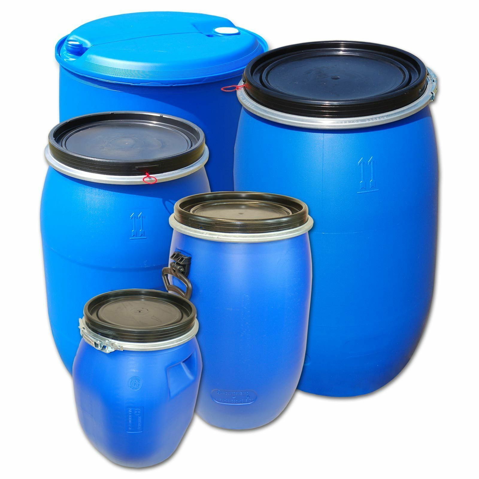Plastic Tight-Head or Open top kegs, different Größes drums, water containers
