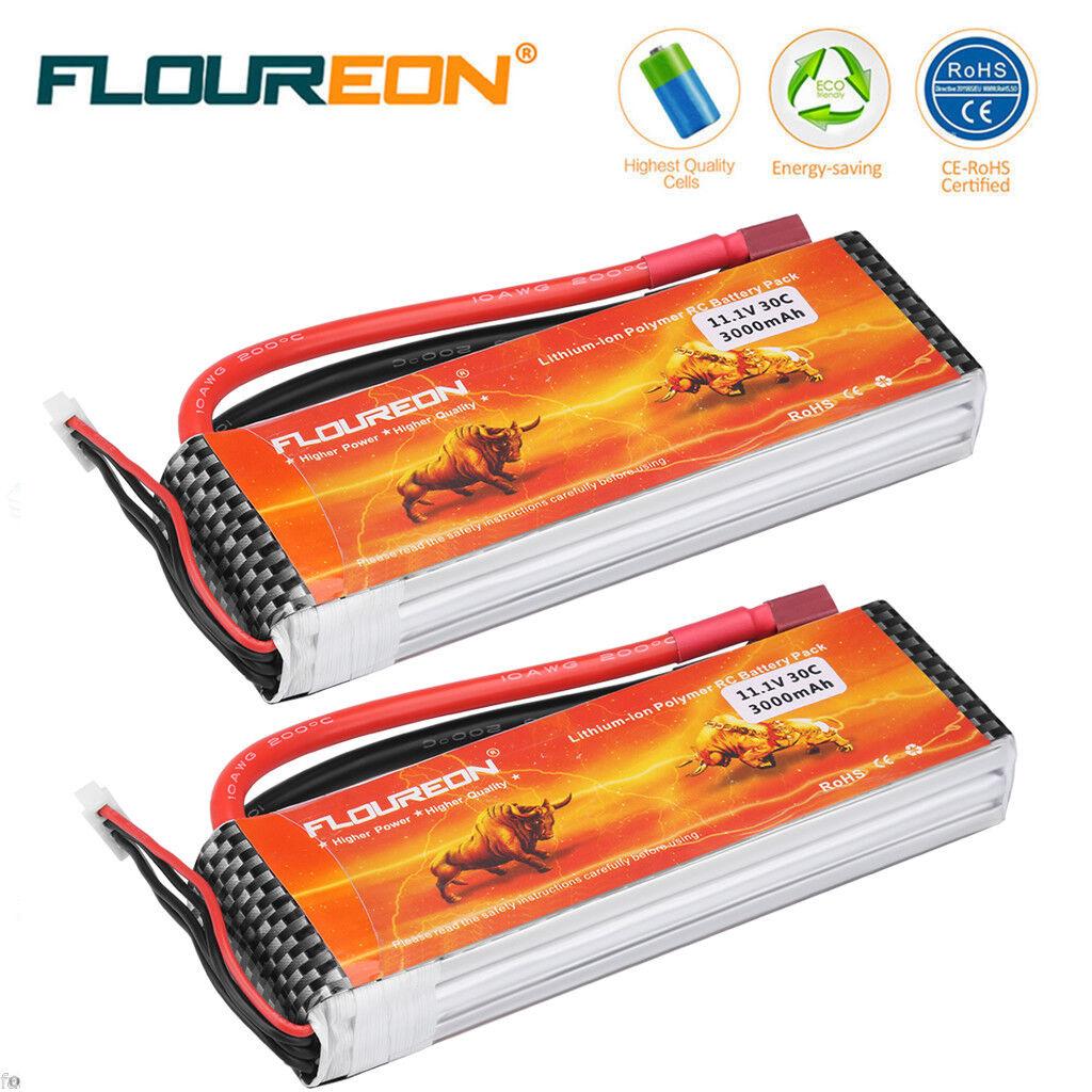 2er Floureon 3s 11.1v 30ch 3000mah Dean Plug Lipo batería batería para RC camiones Hobby