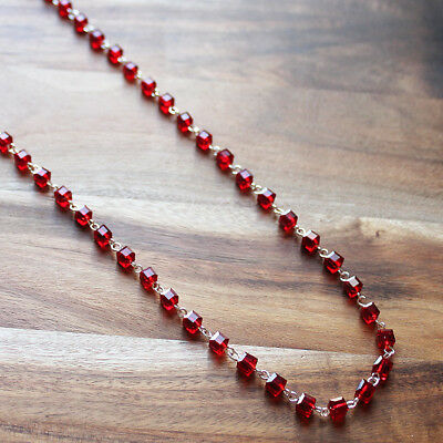 Hand-Crafted Delicate Red Crystal Long necklace