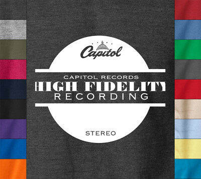 Capitol Records HIGH FIDELITY T-Shirt Stereo Tower Label Ringspun Cotton Tee