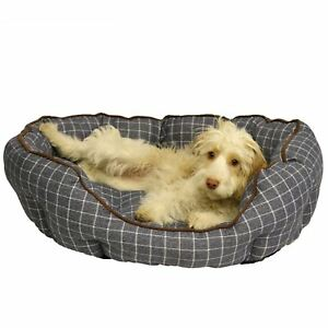 Luxury-Marine-Check-Oval-Dog-Bed-Bedding-46x52cm-Small