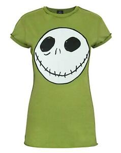 Nightmare-Before-Christmas-Jack-Reverse-Seam-Green-Women-039-s-T-Shirt
