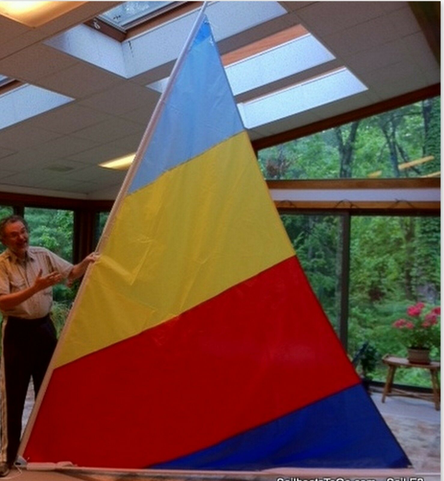 Sail for Sunflower 3.3 with 55 SF sail. blueee Yellow Red Navy colors (E2)