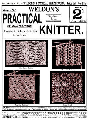 Weldon's 2D #233 c 1904 Vintage Instructions Knitting