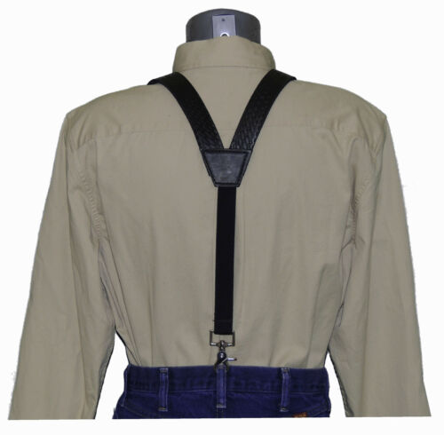 Black Basket Weave Leather Suspenders with trigger scissor snaps 44.95