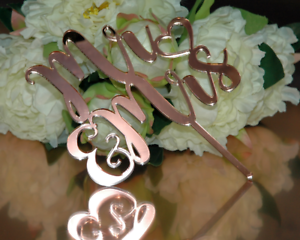 Details about Mr & Mrs Cake Topper  Wedding Cake Decor in ROSE GOLD Mirror  Acrylic #1