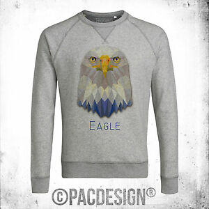 FELPA-UOMO-GRAPHIC-ANIMAL-POLYGONAL-STREETWEAR-EAGLE-AQUILA-VINTAGE-NE0168A