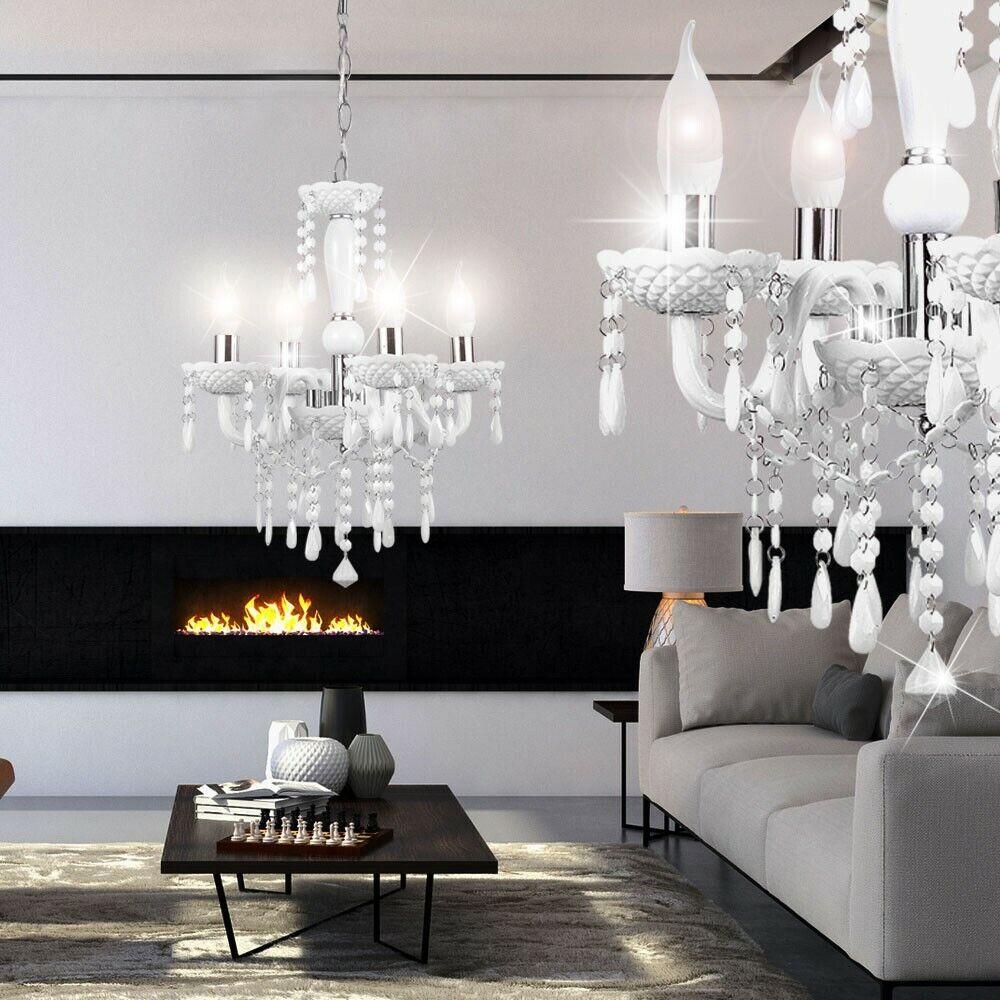 LED Luxus Kronleuchter Wohn Ess Zimmer Decken Hänge Leuchte Pendel Luster weiß