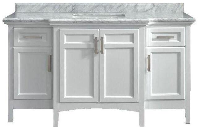 Sy 60 In Bathroom Vanity Marble Top White Single Sink Rectangular