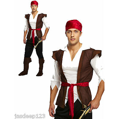 Mens Adult Pirate Fancy Dress Costume Outfit Caribbean Jack Sparrow Brown Man