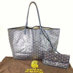 Goyard-Saint-Louis-PM-Shoulder-Tote-Bag-W-Pouch-Used
