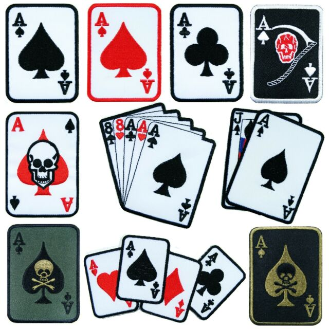 Playing Poker Cards Casino Games Motorcycle Biker Rider Tattoo Iron on Patch #1