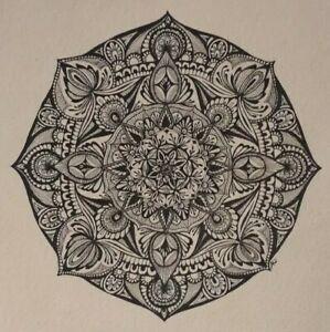 Mandala - Original Hand Drawn Ink signed artwork painting / drawing