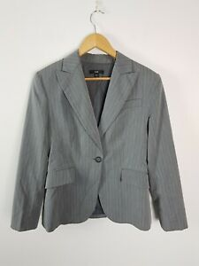 Cue Corporate Business Tailored Fitted Jacket Women's Size 12 Grey Pin Striped