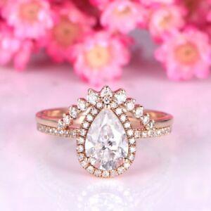 2Ct-Pear-Cut-Morganite-Bridal-Set-Engagement-amp-Wedding-Ring-14K-Rose-Gold-Over