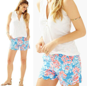 cf28b7c95914fc NWT Lilly Pulitzer Buttercup Bay Blue Pop Pop Glow Scalloped Shorts ...