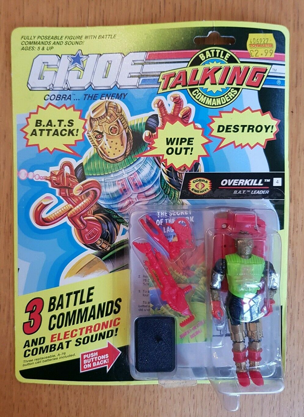 GI JOE BATTLE TALKING COMMANDERS BAT COMMANDER OVERKILL ACTION FIGURE HASBRO