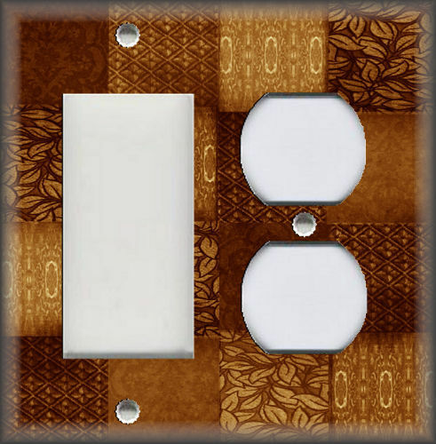 Metal Light Switch Plate Cover Mixed Patchwork Patterns Rust Brown
