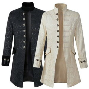 Retro-Collar-Mens-Gothic-Brocade-Jacket-Frock-Steampunk-Victorian-Morning-Coat