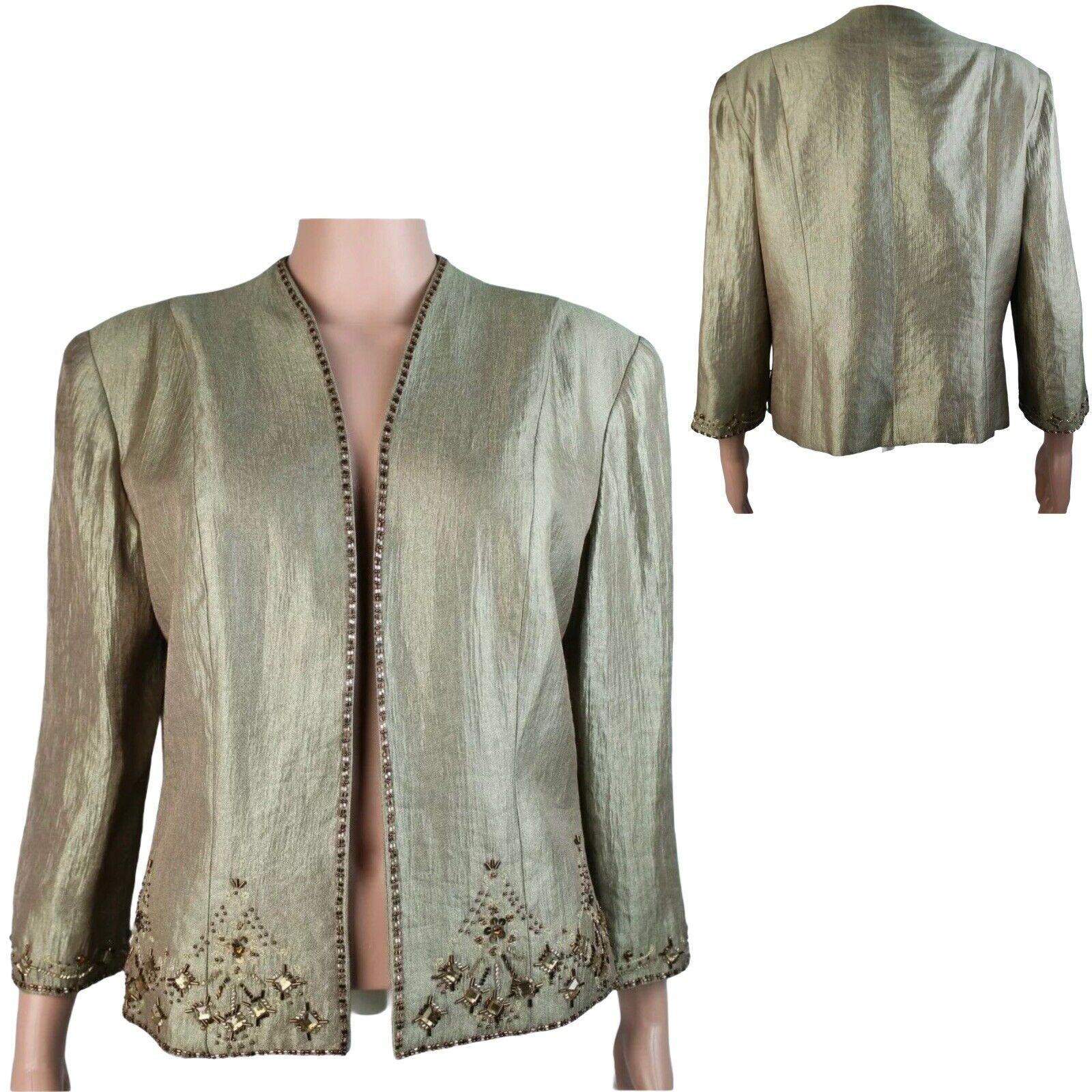 Davids Bridal formal jacket blazer beaded sequins gold bronze shimmer size 12