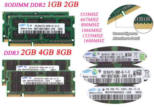 Lot For Samsung 8GB 4GB 2GB 1GB Kit PC2-5300 DDR3 1333Mhz Notebook Laptop Memory