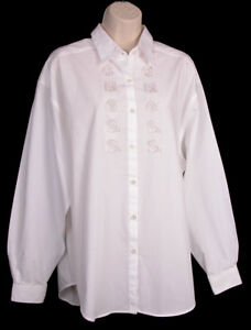 Guess-Georges-Marciano-Shirt-XL-4-Vintage-1980-039-s-Embroidered-Button-Front-White