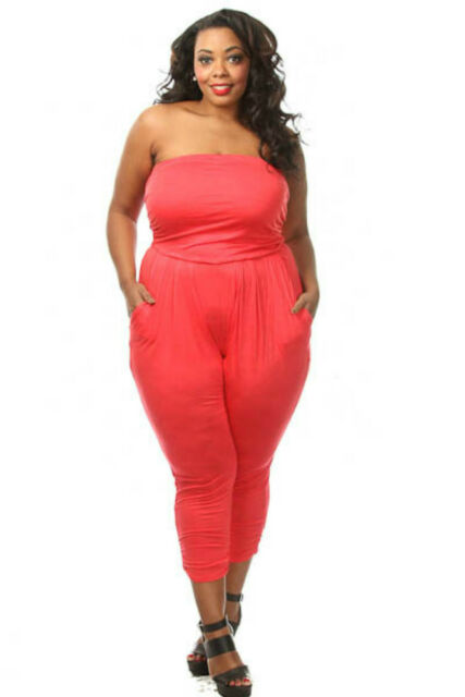 16942a2c03b7 Plus Size Strapless Tube Top HAREM Jumpsuit With Pockets (1x 2x 3x ...