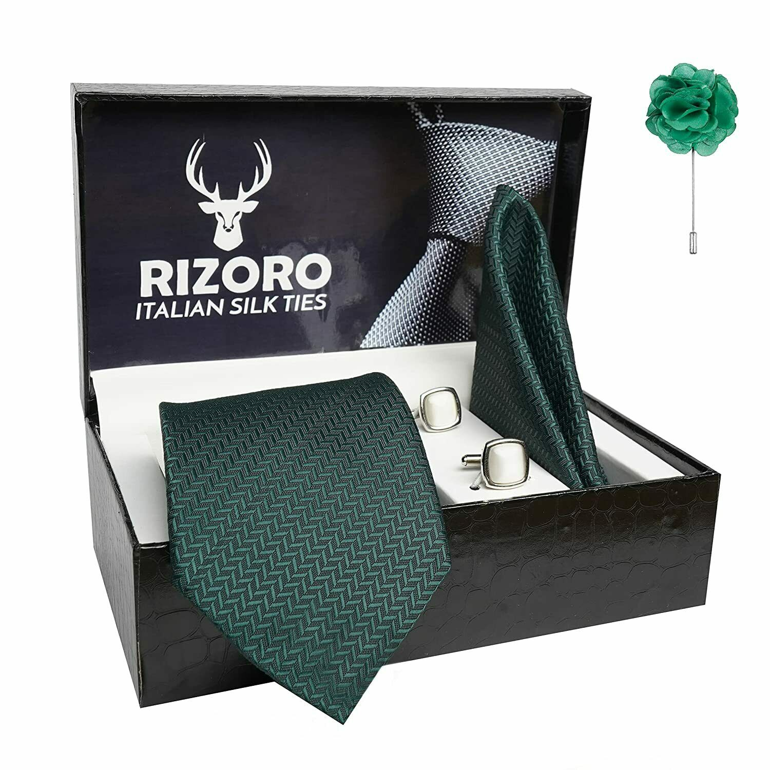 Rizoro Mens Green Tie & Brooch Pin with Cufflink Gift Set and PO Leatherite Box