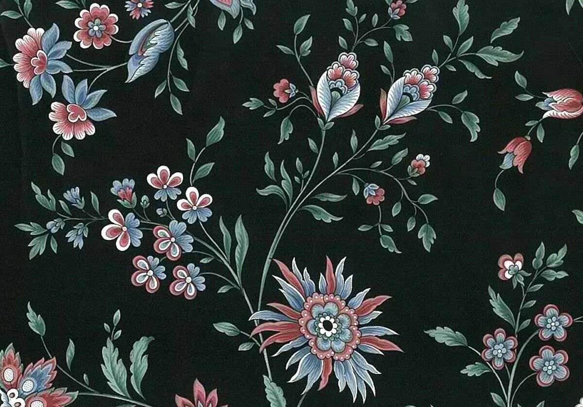 Paisley Floral Vintage Wallpaper Black Pink Blue Vp2113 Double